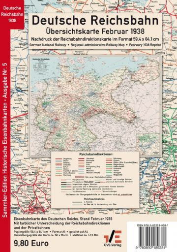 Rail Map of Germany, 1938 (REPRINT)